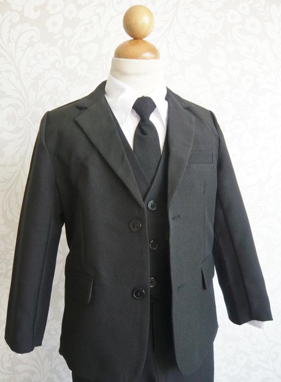 Свадьба - Black Dark Boy Suit Set Long Tie Flappy Ring Bearer, Page Boy, Communion, Wedding Size 2, 4, 6, 8 Baby Toddler Infant