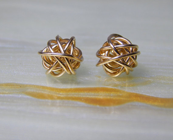 Gold Stud Earrings 14k Knot Post Wedding Jewelry Small Bridesmaids Gifts