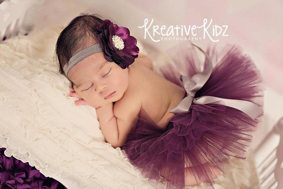 Mariage - 15% off order Newborn baby tutu set { Perfectly Plum } Fancy Holiday Headband Purple & Silver Tutu, wedding tutu, newborn photography prop