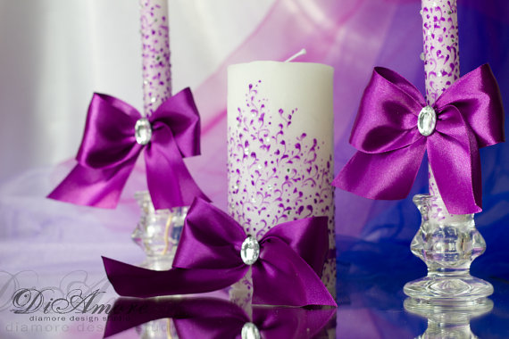 زفاف - Lace Purple Wedding Unity Candle. Set of 3 candles. candle handmade