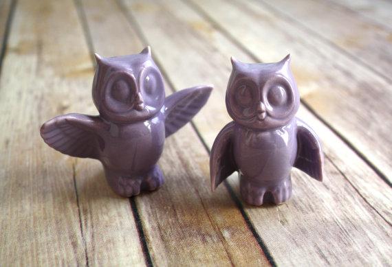 زفاف - Orchid Owl Pair, Handmade Wedding Cake Toppers - Purple Wedding, Nontraditional Cake Topper.  In stock and ready to ship!