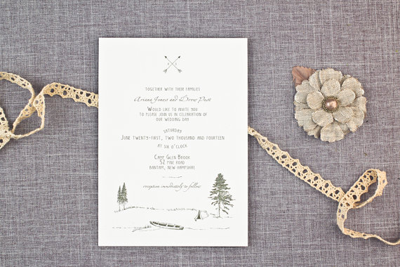 Wedding - ANY COLOR - Rustic Camping Forest Wedding Invitations