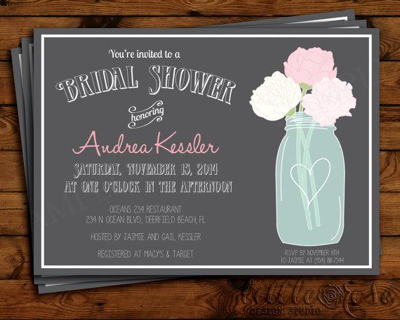 Mason Jar Bridal Shower Invitation - Bridal Shower Invite ...
