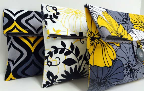 Свадьба - Set of 3 Modern Gray and Yellow Clutches Bridesmaid Gifts Gray and Yellow Wedding