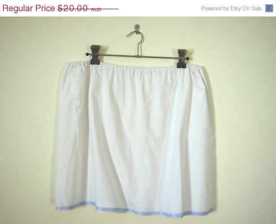 Mariage - SALE 25% off Vintage 1960s white cotton mini slip petticoat skirt
