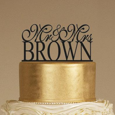 Wedding - Custom Wedding Cake Topper - Personalized Monogram Cake Topper - Mr and Mrs - Cake Decor - Bride and Groom