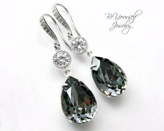 Boda - Dark Grey Earrings Swarovski Crystal Silver Night Earrings Hypoallergenic Teardrop Dangle Earrings Charcoal Bridesmaid Gift Wedding Jewelry