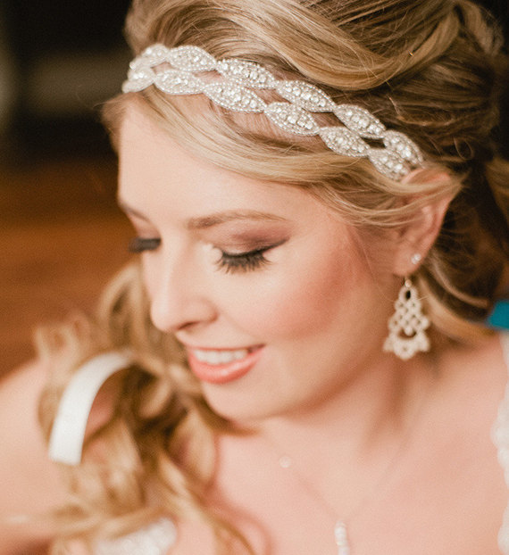 Свадьба - Bridal Headband, Weddings, headband, rhinestone headband, hair accessory, double two strand headband, Bridal Headband, Bridal Headpiece