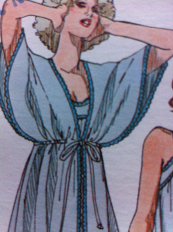 Hochzeit - Vintage 70s Kwik Sew No. 876 NIGHT Gown Wedding Peignoir Uncut Multi Sizes Sm - Xl Uncut FF Wedding Nightgown Peignoir Lingerie Bridal Gown