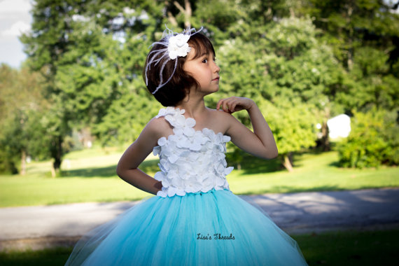 زفاف - Tiffany blue flower girl dress & Ostrich feather hair piece