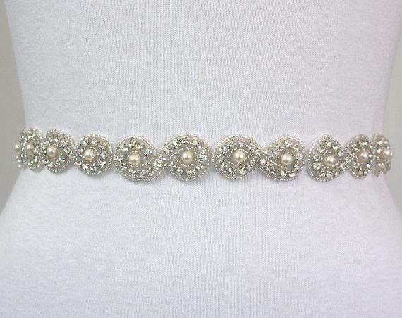 Mariage - CARINA II - Bridal Crystal Rhinestone Sash, Rhinestones Wedding Sash, Ivory Pearls Beaded Bridal Belt, Wedding Belts