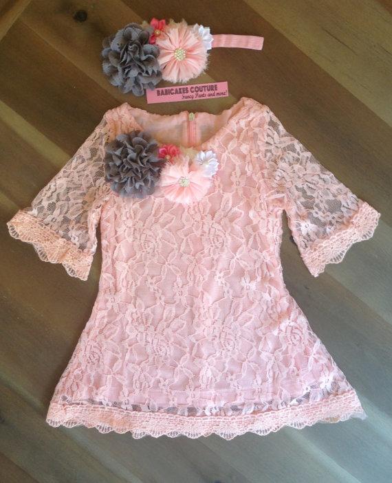زفاف - Pink and Gray Lace Dress & Headband 1st Birthday Dress, Pink Lace Easter Dress, Tea Party Dress, Pink Flower Girl Dress, Pink Lace Dress,