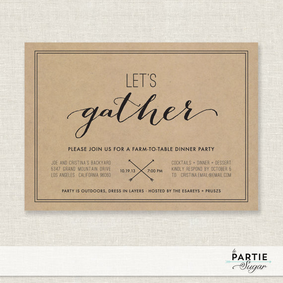 LetS Gather  Dinner Party Invitation  Printable   Weddbook