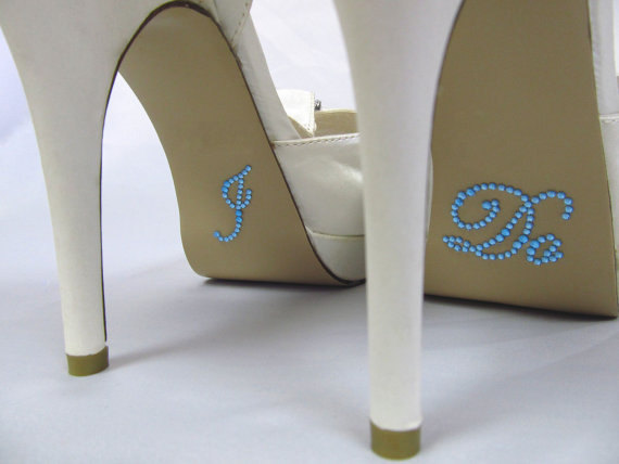 Hochzeit - ADD TO ORDER - Wedding Shoe Decals, Blue or Clear Rhinestone, I Do Shoe Sticker, Something Blue, Great photo opportunity, Easy to Apply