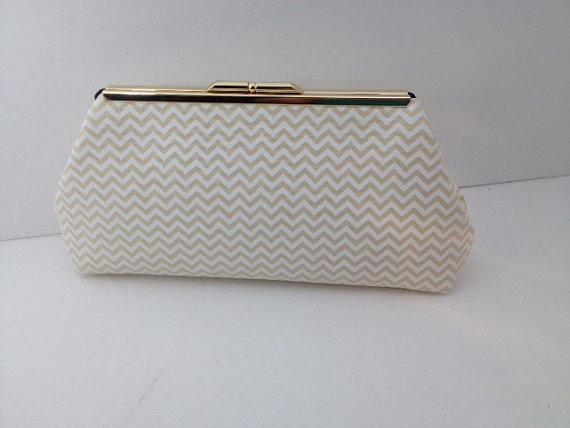 Mariage - Gold Beige and Cream Chevron Clutch Purse with Silver or Gold Tone Frame, Wedding, Bridesmaid, Neutral, Damask, Special Occasion, Bag,
