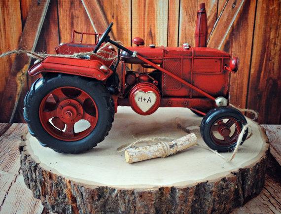 Tractor John Deer Western Rustic Barn Wedding Cake Topper