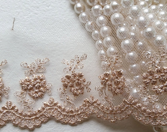 """Hochzeit - 3.5"""" Rose Gold Vintage Lace Trim, Embroidered Gauze Lace, Lovely Floral Embroidery Tulle Fabric for wedding bridal dress, lingerie, clothing"""