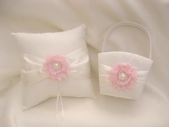 Свадьба - Flower Girl Basket, Wedding Ring Pillow and Flower Girl Basket Set Shabby Chic Ivory or White Custom Colors too