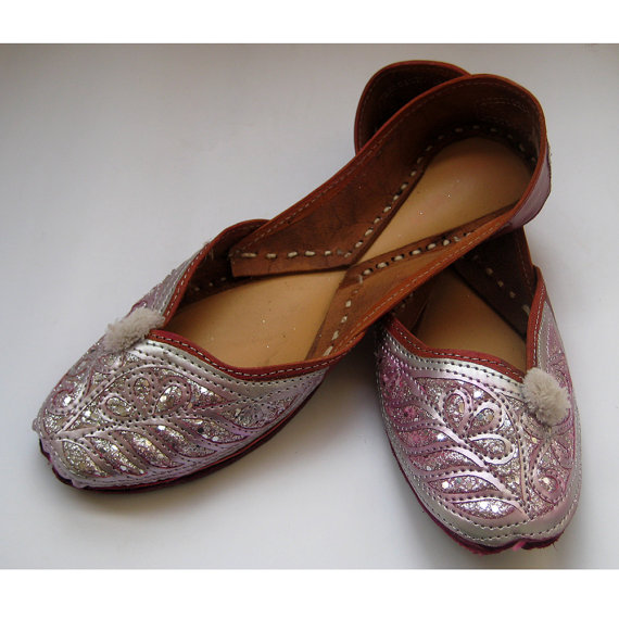 f40feb2f952399 Pink Silver Bridal Ballet Flats  Wedding Shoes  Handmade Indian Designer  Women Shoes or Slippers Sequins Shoes Maharaja Style Women Jooties