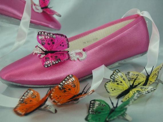 زفاف - Butterflies Shoe Clips hot pink, purple, blue, yellow, orange