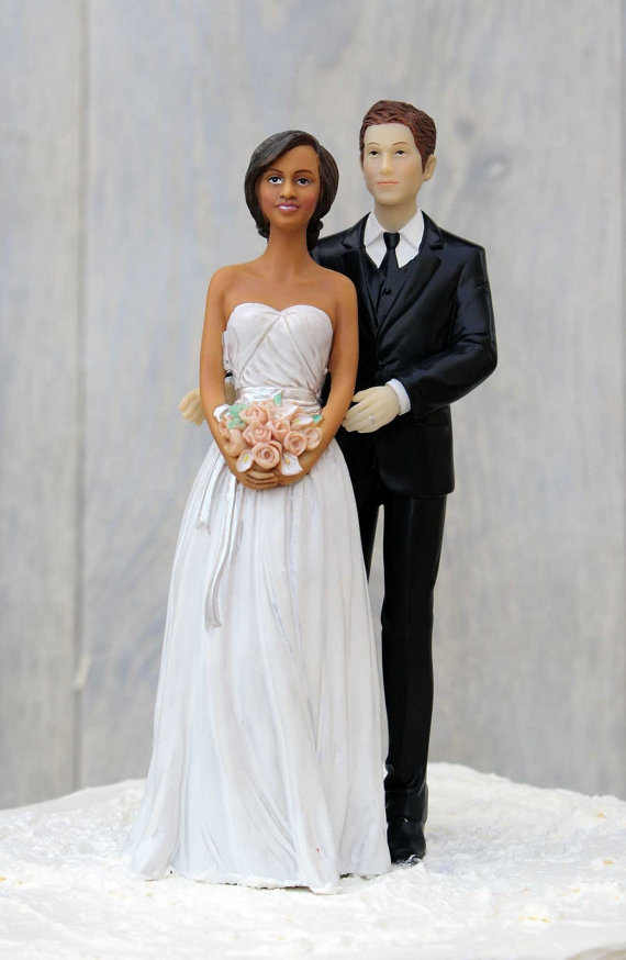 Chic Interracial Wedding Cake Topper - African American Bride ...
