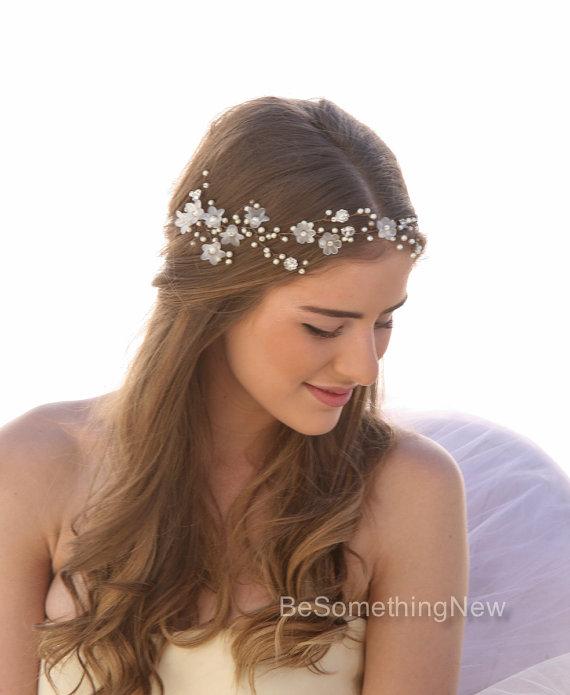 Wedding Hair Vine Of Vintage Flowers Pearls And Rhinestones ...