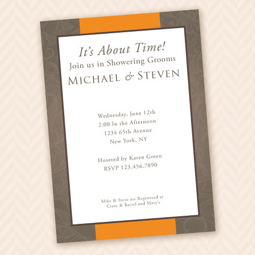 two grooms gay wedding shower invitation