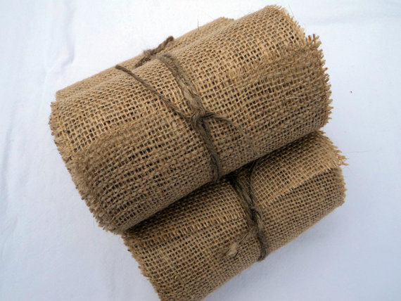 "Свадьба - Burlap Ribbon Stitched 6"" wide 12 yards Rustic Wedding Burlap Chair Sash Ribbon"