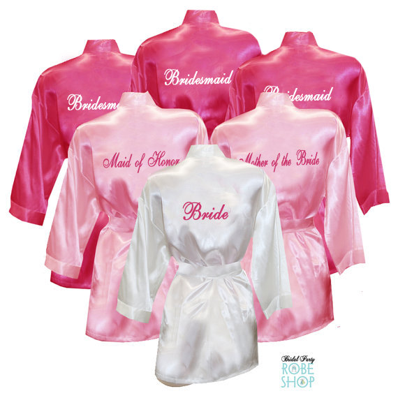 Set Of 11 Personalized Satin Robes With Title On Back Bridesmaid Robes Bridal Party Robes