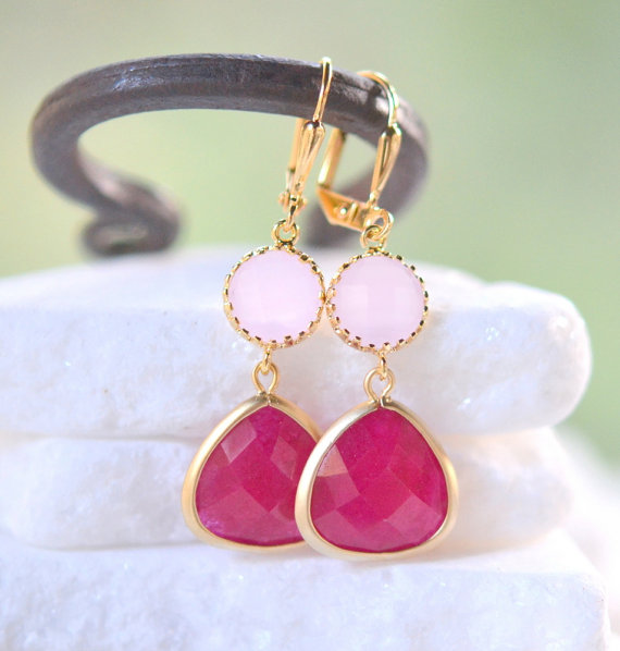 Wedding - Bridesmaid Earrings with Fuchsia and Pale Pink Jewels. Pink Bridesmaid Jewelry. Bridal Party Gift. Jewelry. Pink Wedding.