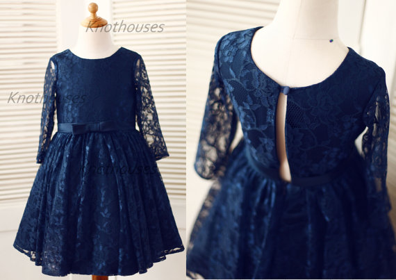 Hochzeit - Long Sleeves Navy Blue Lace Flower Girl Dress Baby Girl Toddler Dress Junior Bridesmaid Dress  for Wedding