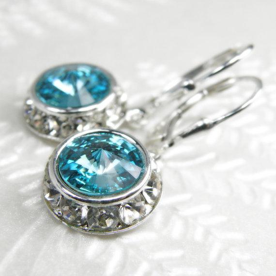 Teal Crystal Earrings Light Turquoise Swarovski Aquamarine Sterling Silver Drop Bridesmaid Wedding Jewelry December March Birthstone
