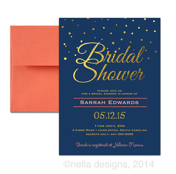 Wedding - Coral and Navy Wedding Invitations, Navy and Gold Bridal Shower Invitations, Navy and Gold Wedding Invitations, Gold Foil Invites DIGITAL