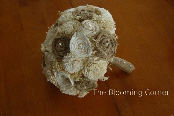 Свадьба - Handmade Wedding Burlap Bouquet, Sola Bouquet, Alternative Bouquet, Burlap Bouquet, Handmade Bouquet,