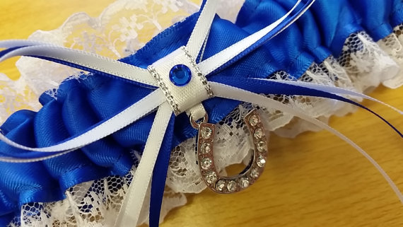 "Свадьба - Wedding Garter SINGLE , beautiful with lucky horse shoe""""""""Your Choice of Colour"""""""""