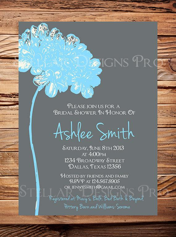 bridal shower invitationflower bridal or wedding shower invitationwedding shower gray pink yellow blue green digital item 1209