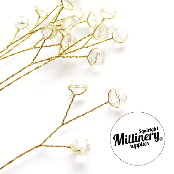 Свадьба - 6 Ivory Acrylic Bead Picks on Gold Wire for Millinery and Wedding Flower Bouquets