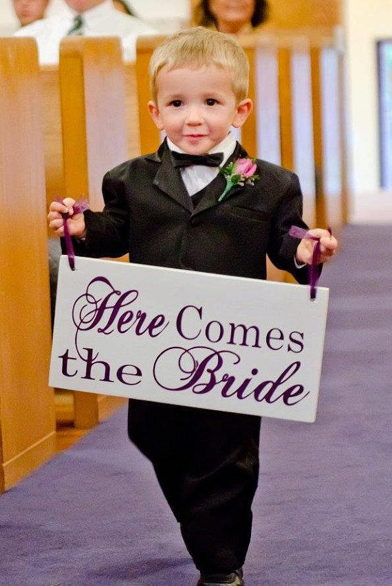 Wedding - Wedding Signage. Here Comes the Bride and/or And they lived Happily ever after. 8 X 16 inch, Bridal Sign, Flower Girl, Ring or Sign Bearer.