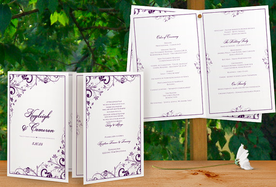 Wedding - Printable Wedding Program Booklet - Download Instantly - EDITABLE TEXT -Chic Bouquet Foldover (Plum) (Microsoft Word Format)