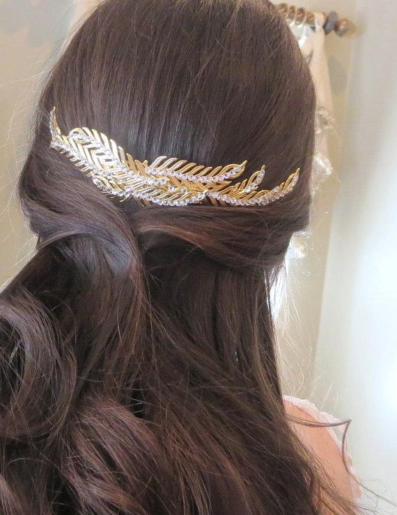 Mariage - Gold Wedding headpiece, Leaf headpiece, Bridal hair comb, Bridal hair vine, Bridal hair accessory, Swarovski crystal headpiece, Vintage hair