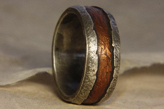 زفاف - Rustic Man's ring of sterling silver and copper. Man's engagement ring. Wedding ring for men