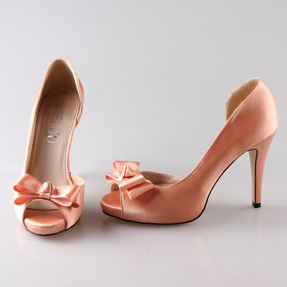 c0a5ad8551cd5 Peach nude D'orsay shoes peep toe wedding party prom shoes pumps with bow ,  other color is available too