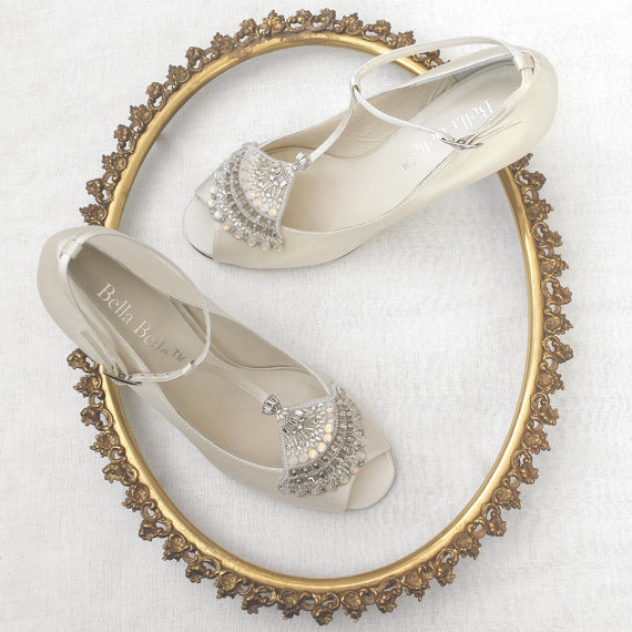 Свадьба - Art Deco Ivory Wedding Shoes with Great Gatsby Beaded Crystal Applique Flapper T-Strap Peep Toe Heel Silk Satin Bridal Shoes