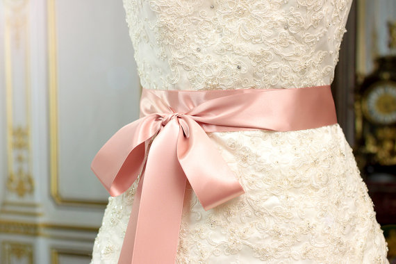 زفاف - Bridal Sash - Romantic Luxe Satin Ribbon Sash - Wedding Sashes - Dusty Rose - 2in  - Pink Bridal Belt