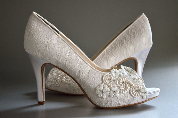 f1d2adcbdef6 Lace Wedding Shoes - Custom Colors 120 Choices - Vintage Wedding Lace Peep  Toe Heels