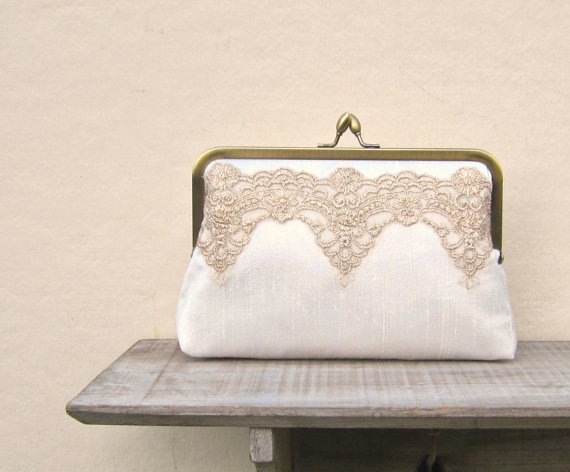 Mariage - Gold lace clutch, gold and ivory bridal clutch, gatsby wedding, wedding purse, gold bridesmaid clutch, evening clutch, lace scalloped clutch