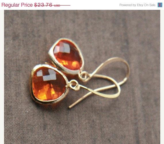 Mariage - ON SALE,Sale Earrings,Orange Earrings,Bridesmaid Earrings,Gold Earrings,Bridal Jewelry,Dangle Earrings,Drop Earrings