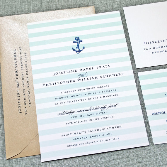 Josseline Nautical Wedding Invitation Sample Aqua Mint Ombre
