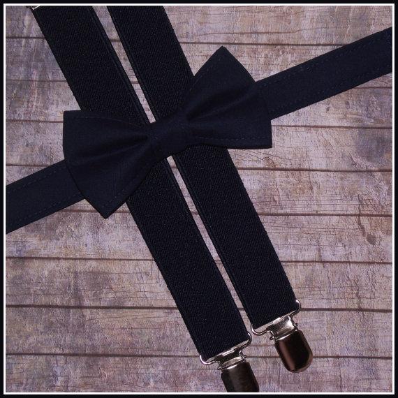 Свадьба - Navy Bow Tie and Suspenders: Navy Bow Tie and Navy Suspenders for Baby, Toddler, Boys, Teens