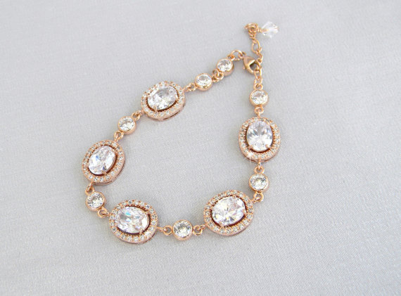 Rose Gold Bridal Bracelet Crystal Wedding Swarovski Cz Jewelry Chelsea